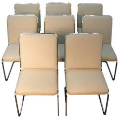 Chic Set of Eight Midcentury Cantilever Chairs by Brueton