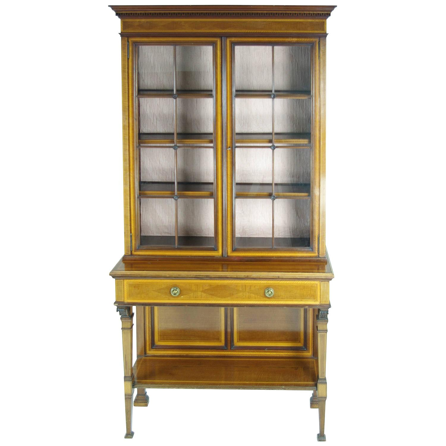 #B18C1A B421 Edwardian Inlaid Mahogany Glass Fronted Curio  with 1500x1500 px of Recommended Mahogany Display Cabinets With Glass Doors 15001500 save image @ avoidforclosure.info