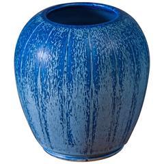 Eva Jancke-Bjork for Bo Fajans Blue Ceramic Vase, Sweden, 1940s