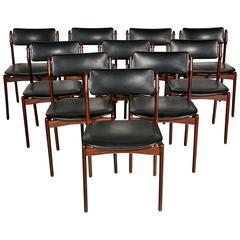 Danish Teak Set of Ten Dining Chairs by Eric Buck, 1960s