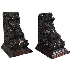 Large Pair of 19th Century Decorative Carved Mahogany Architectural Brackets
