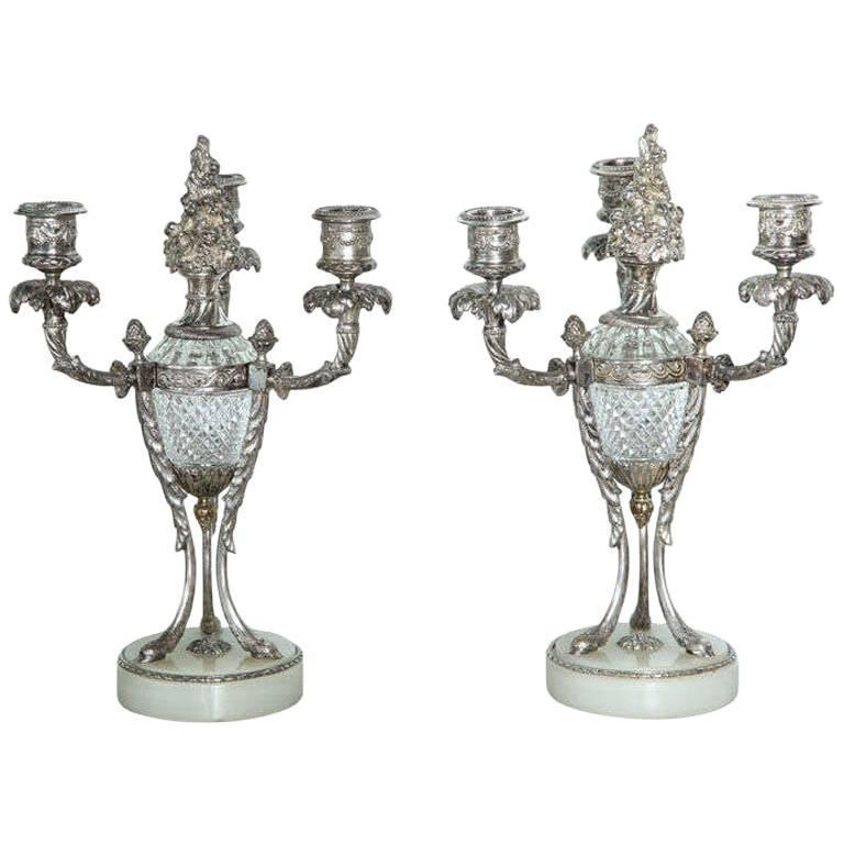 Pair of Louis XVI Style Silvered Bronze and Crystal Candelabra