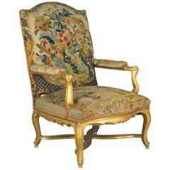 19th Century Gilded Fauteuil or Armchair