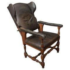Antique Reclining Patinated Leather Fauteuil Malade Armchair with Three Settings