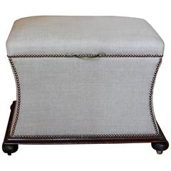 19th Century Upholstered Bench with Storage