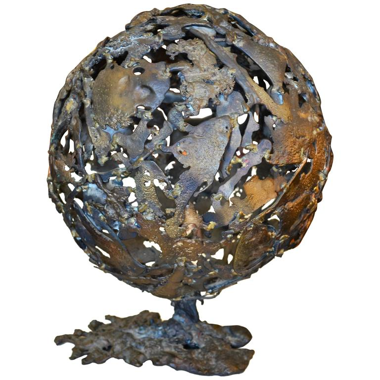 Abstract Brutalist Mid-Century Globe Sculpture