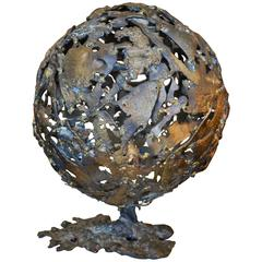 Abstract Brutalist Mid-Century Globe Sculpture