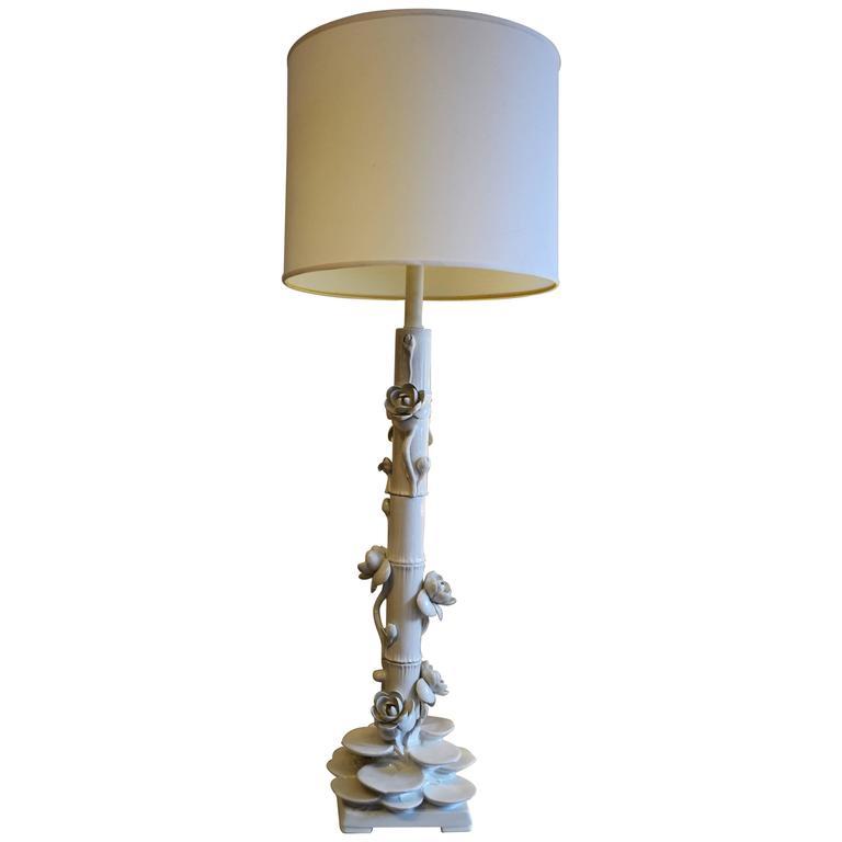 Mid-Century Italian Ceramic Lotus Floor Lamp 1