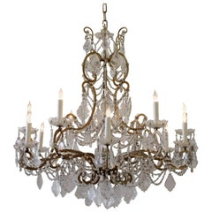 Antique Italian Beaded Eighteen-Light Bronze and Crystal Chandelier