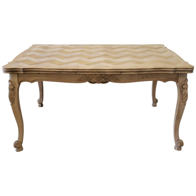French Oak Parquet Draw-Leaf Dining Table