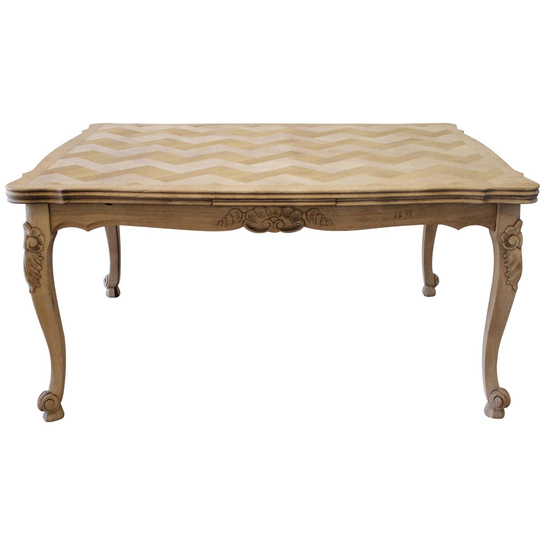Antique Oak Dining Table Elizabethan Draw Leaf Parquetry 16th