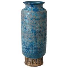 Vintage Bitossi Cinese Blue Decor Lava Italian Art Pottery Vase