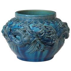 Antique Kyoto Pottery Dragon Vase