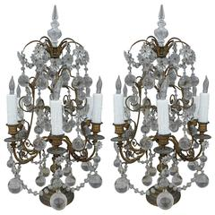 Pair of French Six-Light Bronze and Crystal Girandoles