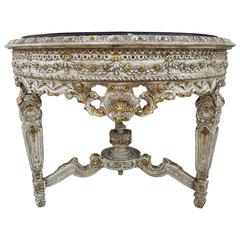 French Painted and Parcel-Gilt Center Table with Marble Top
