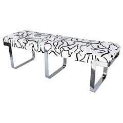 Chrome and Donghia Fabric Bench by Tri-Mark Design