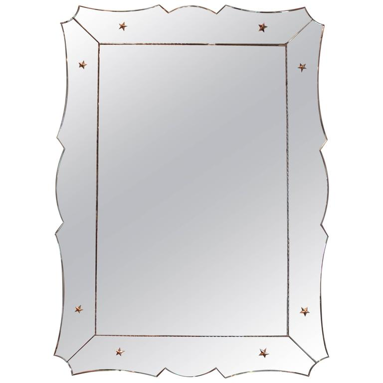 Art Deco Venetian Mirror with Scalloped Frame For Sale at 1stdibs