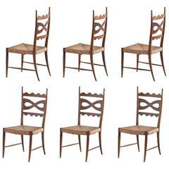 Paolo Buffa Set of Six Walnut and Rush Dining Chairs, Italy, 1940s
