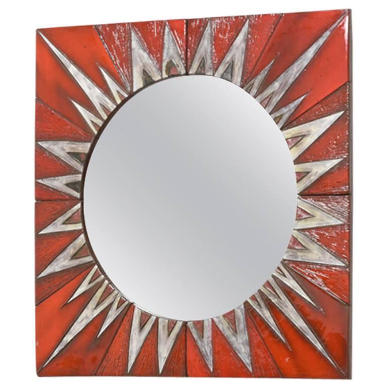 Ceramic Sunburst Mirror Designed by Oswald Tieberghien