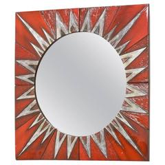 Ceramic Sunburst Mirror Designed by Oswald Tieberghien