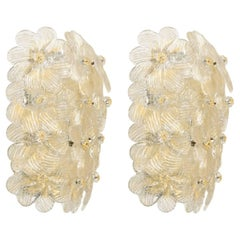 Pair of Barovier & Toso Flower Sconces