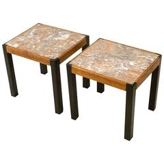 Pair of Mid-Century Modern Occasional Tables with Marble Tops, 1960s