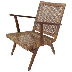 French Armchair in Wood and Rattan