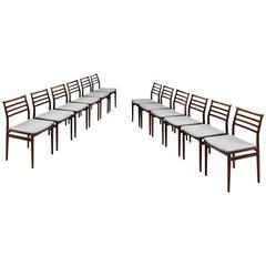 Erling Torvits Set of 12 Dining Chairs by Sorø Stolefabrik in Denmark