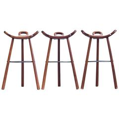 Spanish Brutalist Bar Stools, Set of Three