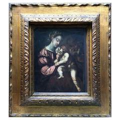 18th Century Italian Madonna with Child Religious Oil Painting on Wooden Panel