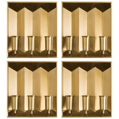 Set of Four Wall Lamps in Brass by Fog & Mørup in Denmark