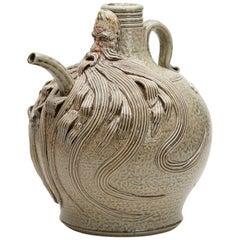 Salt-Glazed Stoneware Studio Pottery Bellarmine Peter Meanley Ewer, 2010