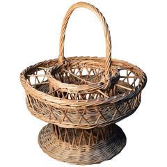 Vintage French Basket for Wine Bottles and Glasses