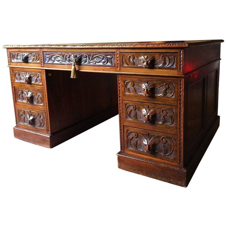 Antique Partners Desk Gothic Green Man Walnut Victorian 19th Century For