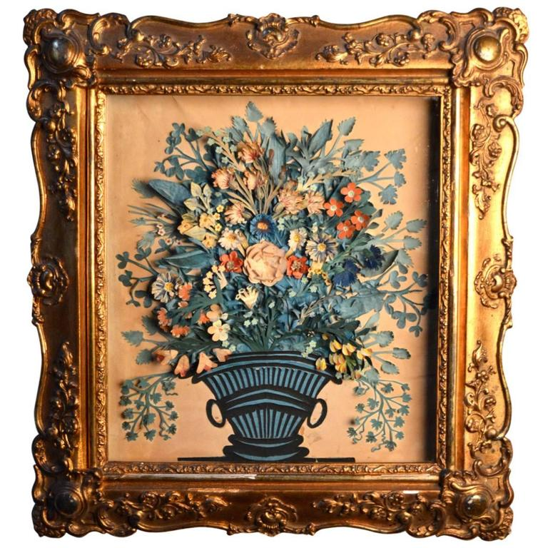 "French 3D ""Carnivet"" Cut Paper Flowers and Urn in the Original Gilt Shadow Box  For Sale"