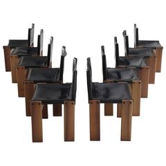 Tobia & Afra Scarpa Set of Ten 'Monk' Dining Chairs in Black Leather