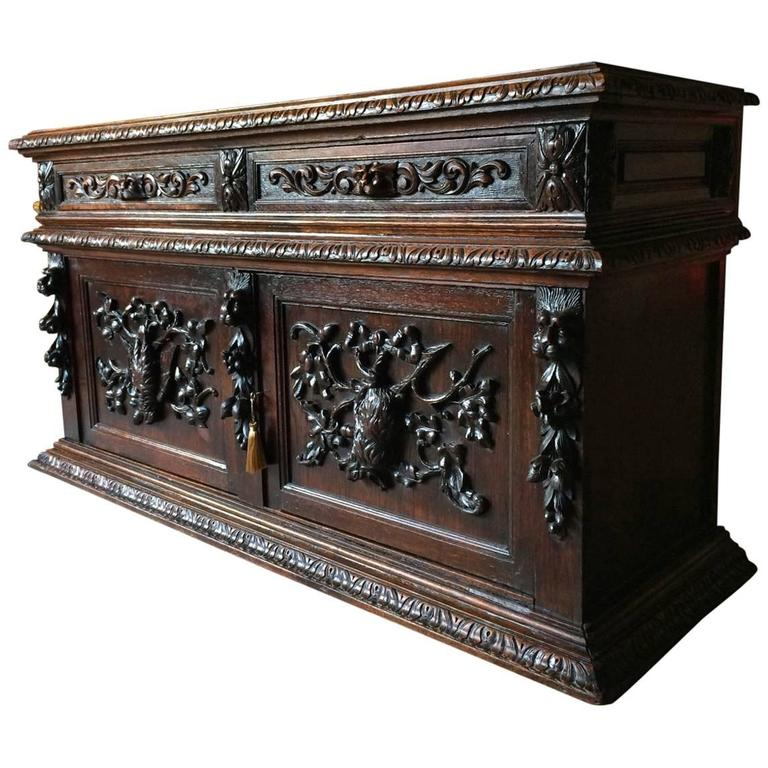 Antique Sideboard Credenza Gothic Victorian Green Man French Oak Carved For  Sale - Antique Sideboard Credenza Gothic Victorian Green Man French Oak
