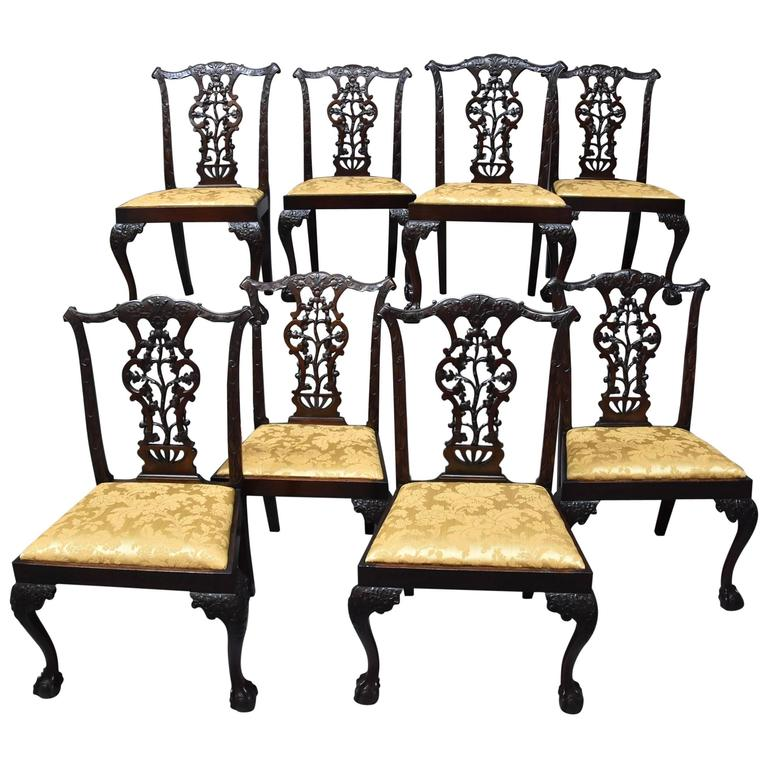 Chippendale Mahogany Dining Room Chairs: Superb Quality Set Of Eight Chippendale Style Mahogany