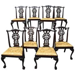 Superb Quality Set of Eight Chippendale Style Mahogany Dining Chairs