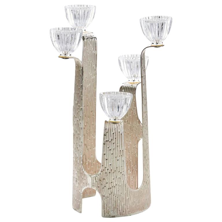 Vintage German WMF Modernist Silver Plated Candlestick For Sale  sc 1 st  1stDibs : silver plated candle holders - pezcame.com