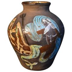 Signed Mid-Century Belgian Pottery Vase with Mermaid, Neptune and Seahorses