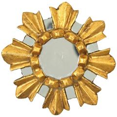 Unique Spanish Baroque Style Giltwood and Mirrored Sunburst Mirror Miniature