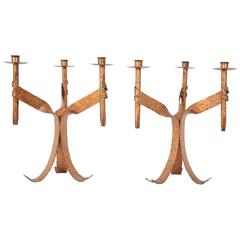 Pair of 1950s Brutalist Hand-Hammered Iron Copper Finished Candleholders