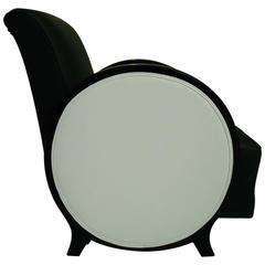 Art Déco Single Armchair Black or White Leather with Round Arms