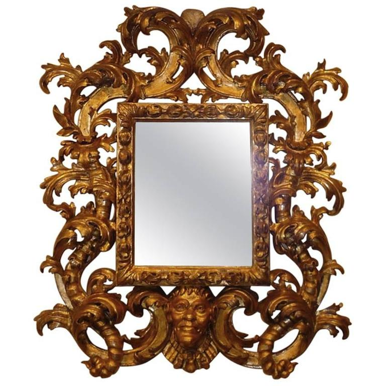 Rare Roman Baroque Carved and Giltwood Mirror, with a Grotesque Head, 1700 1