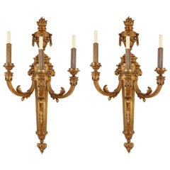 Extremely Large Pair of Louis XVI Style Three-Branch Ormolu Wall Lights