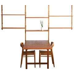 1950s, Poul Cadovius, Teak Wall System with Table