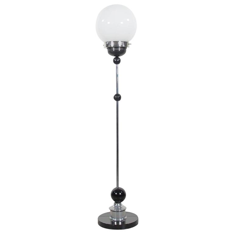 Art Deco Style Chrome Floor Lamp with Round Glass Shade