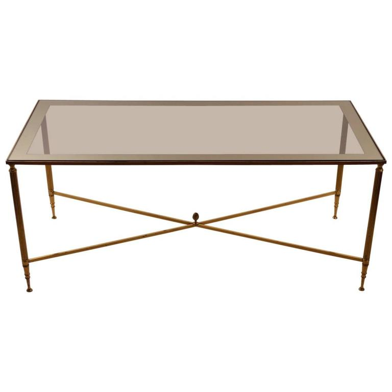 Mirror Top Brass Base Coffee Table After Maison Jansen At 1stdibs