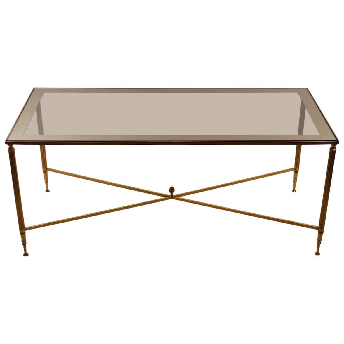 Mirror Top Brass Base Coffee Table After Maison Jansen For Sale At 1stdibs